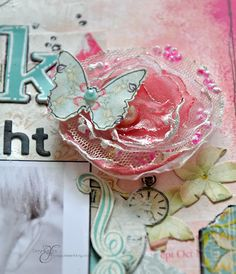 use gesso and heat gun on fabric flowers- Webster's Pages by Emma Trout