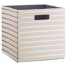 Fabric Cube Storage Bin 13 - White Gold Stripe - Threshold