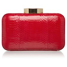 LULU GUINNESS Red Snakeskin Fifi Clutch ($495) ❤ liked on Polyvore