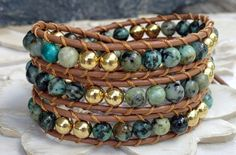 African Turquoise leather wrap bracelet 3X by WrappedInLeather, $46.95