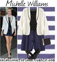 Michelle Williams Style: Kate Young for Target blazer, Kate Young for Target shorts, Mango polka-dot top, Rsvp pointy-toe pumps, Nasty Gal shadowbox clutch