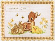 Anchor Baby Animal Birth Record - Cross Stitch Kit. Complete kit contains 14 count white Aida, pre-sorted Anchor floss, alphabet for personalizing, needle, char