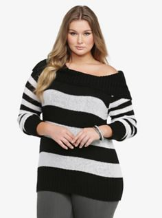 Striped Marilyn Tunic Sweater- Black and White Christmas?