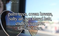 Palm Trees, Ocean Breeze, Salty Air, Sun Kissed Hair, Endless Summer, Take Me There.