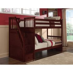 NE Kids School House Twin over Twin Stairway Bunk Bed -