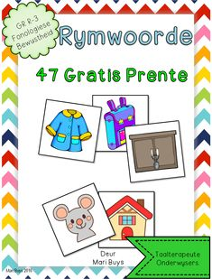 Afrikaans 47 Gratis rymprente Fonologiese Bewustheid GraadR-3 Grade R Worksheets, Preschool Worksheets, Preschool Activities, Alphabet Activities, Infant Activities, Speech Language Pathology, Speech And Language, Afrikaans Language, Singing Exercises