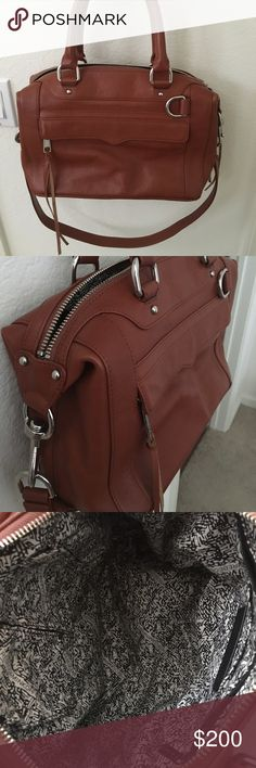 Rebecca Minkoff mab satchel This morning after bag is in excellent condition and only used 1 time. It is basically brand NWOT. This beautiful brown color will go with anything. Remove strap to carry as satchel or add strap and go crossbody. Zip compartment and 2 pockets. Outside zip pocket as well. Rebecca Minkoff Bags Satchels