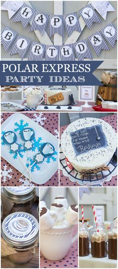 A polar express themed boy birthday party with trains and the magic and spirit of Christmas! See more party planning ideas at CatchMyParty.com!