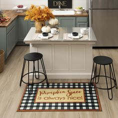 Who doesn't like pumpkin spice? Savor the fall flavor with the black and white plaid design of the Pumpkin Spice Nice Mat in Black. #fall #falldecor #doormat #pumpkinspice #kitchendecor #coffee #lowes #homedecor #pumpkins #autumn #homedecor #arearugs #mohawkhome #mohawk #plaid Fall Home Decor, Autumn Home, Dining, Plaid Design, Kitchen Decor, Porch Decorating, Home Decor, Diy Decor, Mohawk Home