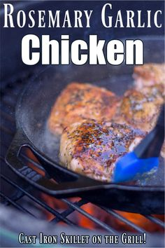 Make this deliciously tender Rosemary Garlic Chicken on the grill by using your cast iron skillet. These turn out so amazing that you need to make sure you have enough for leftovers. Grilled Rosemary Chicken, Grilled Chicken Thighs, Garlic Chicken Recipes, Chicken Cast Iron Skillet, Date Night Recipes, Grilling Recipes, Quick Meals, Laughter, Cooking