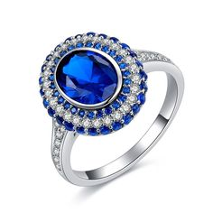 CTR003 Luxury Blue Angels Ring CZ Diamond Jewelry White Gold Plated Copper Cubic Zirconia Rings For Women