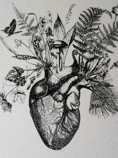 Growing Human Heart silk screened natural by utilitarianfranchise