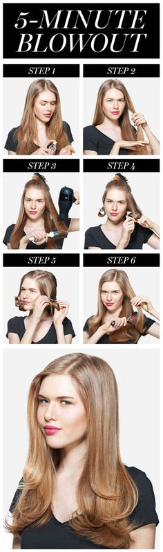 How to Master the Perfect Blowout *Step 4. Pin each bottom section of hair into a large pin curl. Wrapping hair underneath and quickly pinning it has a major payoff. The most effective way to get hair perfectly smooth, but to still have volume and movement, is to let it cool down after you've heated it up because it locks in the shape. Plus, it prevents strands from flying all over from the air flow of the blow (Blow dry then pIn curl the top section in step 5 too...)