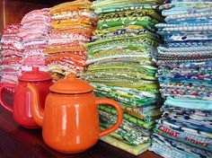 colorful piles of fabric