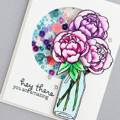 Peony card on my blog!  My card for @prettypinkposh 's #watercolorbloghop & #thedailymarker30day2 : day 5.  Watercoloring is not my strong point, but I'm practicing & I love how this card came out!!! #stampendous #cleancolorrealbrushpens #handmadecards #cardmaking #shakercard #prettypinkposh