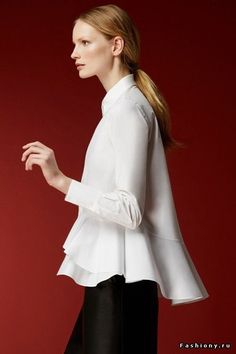 """CH Carolina Herrera Woman - Fall A beautiful skirt and top: The perfect at-home """"hostess"""" look for New Year's Eve! Classic White Shirt, Crisp White Shirt, White Shirts, Carolina Herrera Perfume, Carolina Herrera 212, Business Outfit, Look Chic, White Tops, Blouse"""