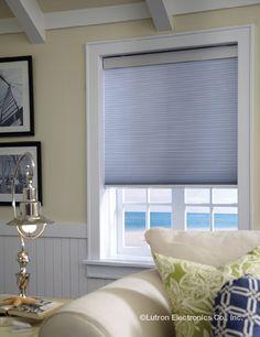 Light filtering honeycomb shade transform harsh daylight into a soft, filtered glow. www.lutron.com/fabrics