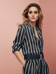MAX&Co. S/S 2016 Campaign featuring our style ambassador Olivia Palermo wearing the striped twill shirt DELIA 6111926003002, with matching trousers DELICATO 6131916003002. Ph Sean and Seng, styling Tom Van Dorpe. #maxandco #oliviapalermo #tomavandorpe #seanandseng #campaign #advertising