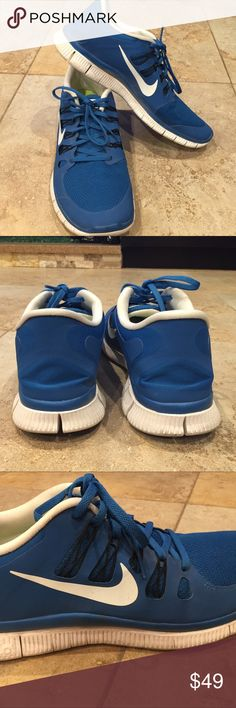 Nike Free 5.0 mans size 15 Used but perfect condition. Blue color. Nike Shoes Athletic Shoes