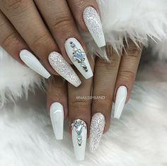 White Glitter Nails. Acrylic Nails. Ballerina Nails. Nails With Rhinestones.