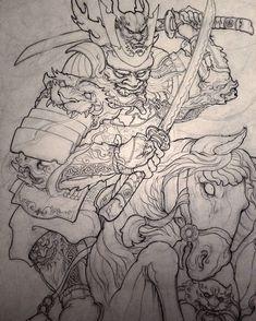 Foo Dog Tattoo, C Tattoo, Thai Tattoo, Asian Tattoos, Leg Tattoos, Tatoo Hindu, Koi Fish Designs, Samurai Helmet, Samurai Artwork