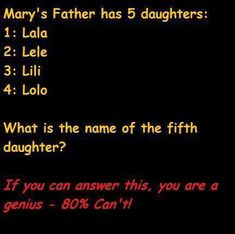 I am pretty sure the answer is Mary, as it said sat the start 'Mary's Father' meaning she is one of his children.