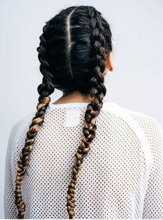 Ombre braid pigtails. @thecoveteur