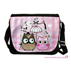 Owl couple - Cute kawaii messenger bag - MB21 | ChibiBunny - Bags & Purses on ArtFire