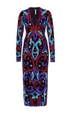 Sequin Embellished Velvet Midi Dress by NAEEM KHAN for Preorder on Moda Operandi