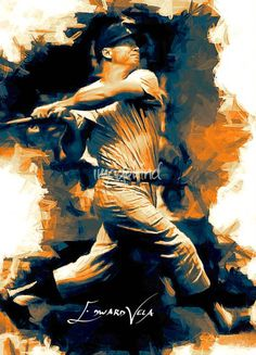 """""""Mickey+Mantle++Art+by+Edward+Vela""""+by+Edward+Vela,+Washington+//++//+Imagekind.com+--+Buy+stunning+fine+art+prints,+framed+prints+and+canvas+prints+directly+from+independent+working+artists+and+photographers."""