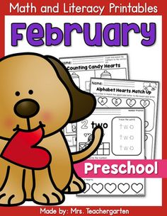 February Preschool Printables - This packet includes 88 math and literacy printables designed for Preschool and Pre-Kindergarten students. These worksheets cover a wide range of basic skills including tracing, cutting, handwriting, sequencing, sorting, counting numbers 1-10, patterns, and alphabet practice.