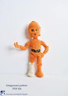 Amigurumi pattern C3PO PDF file Crochet pattern Amigurumi toy #c3po #starwars #starwarspattern Crochet Gifts, Crochet Toys, Free Crochet, Amigurumi Toys, Crochet Patterns Amigurumi, Chain Stitch, Slip Stitch, Star Wars Crochet, Yarn Needle