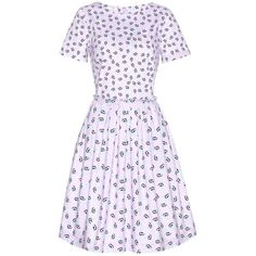 Oscar de la Renta Printed Cotton Dress ($810) ❤ liked on Polyvore featuring dresses, oscar de la renta, purple, multi print dress, multi-color dresses, multi color dress, colorful dresses and cotton dress