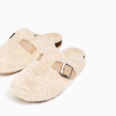 FAUX FUR CLOGS WITH BUCKLE from Zara