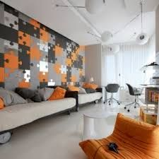 grey and orange color for living room - Google Search