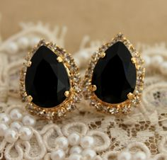 Black and gold Crystal big teardrop stud earring 14k by iloniti