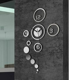 Rebirth Home Decorative Wall Clock Modern Design Large Mirrors Gift Living Room (White)