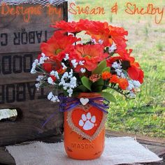 Clemson mason jar, painted mason jar, rustic wedding, decorated mason jar, centerpiece, college, graduation party, tiger paw, gifts, orange on Etsy, $9.25