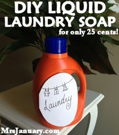 DIY Liquid Laundry Soap for Only 25 Cents via MrsJanuary.com - This is so easy to make and costs you just pennies per load (much less than what you'd pay at the store!).