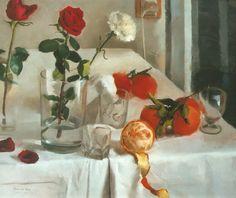 """""""Flores y naranjas sobre la mesa 2"""". Óleo sobre tabla. salvador Caro."""