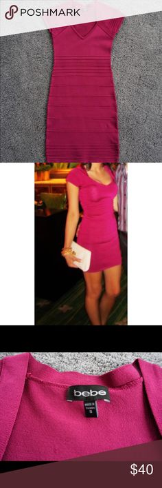 Bebe Bandage Dress Worn one time. Great condition. Size small. Pink/Fuschia color. Super flattering and form fitting! bebe Dresses Mini