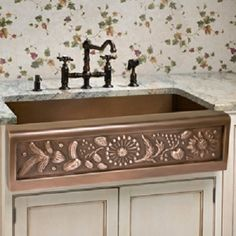 Sinks and Faucets -- Decorative Copper Apron Front Sink with old world faucets
