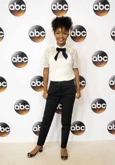 You can work lace into a business-chic look with a bow-adorned blouse - The Best Style Tips We Learned From Yara Shahidi - Photos