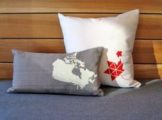 I found these pillows by Nicole Tarasick and they remind me of the True North a.k.a Canada.