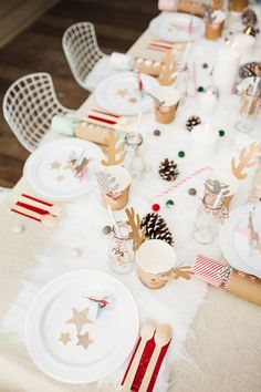 Winter white Swedish Christmas party for kids from Fire & Creme Christmas Party Table, Christmas Table Settings, Christmas Tablescapes, Christmas Table Decorations, Holiday Tables, Christmas Parties, Christmas Candles, Wedding Decorations, Swedish Christmas