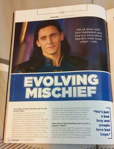 """Tom Hiddleston on why people love Loki: """"There's something in his story that people connect to. He's an outsider. He's a misfit… And he's just a bad boy and people love bad boys."""" From the Thor: Ragnarok movie special magazine. Source: @hiddlesfashion (http://maryxglz.tumblr.com/post/168437025152/hiddlesfashion-tom-hiddleston-on-why-people-love )"""