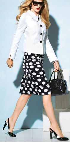 Black & white elegant costume for business or afternoon tea