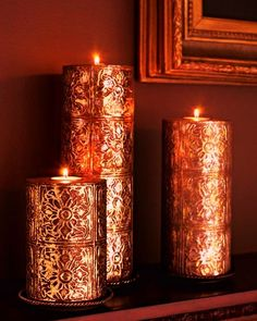 Beautiful candles gold/copper metallic toned candles by jannyshere Gold Candles, Best Candles, Pillar Candles, Holiday Candles, Bougie Candle, Candle In The Wind, Bronze, Beautiful Candles, Candle Lanterns