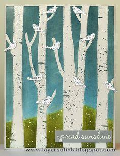 Spring Birch Trees by Anna-Karin (A-K), via Flickr. Cute little newsprint birds