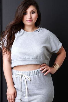 Heathered Knit Hooded Crop Top